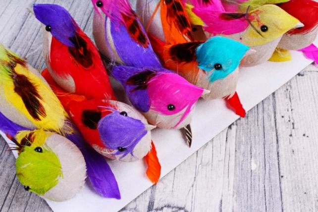 8657 Птичка  на проволоке 5 см (12 шт в уп) 1804121