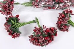 Тычинки с ягодами бордо (12 букет. по 12шт)