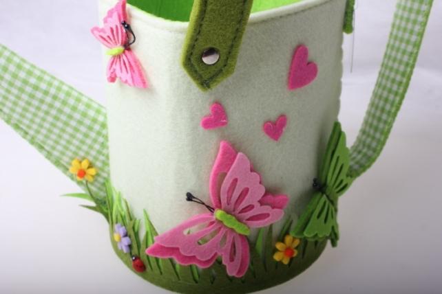 кашпо для цветов 02-3043 кашпо фетр лейка большая с бабочкой (1шт) 2377