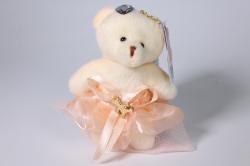 05 медведь для букетов (персиковое платье) h=12см