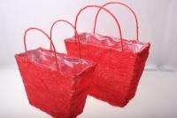 корзины из сизаля 051447 корзины плетеные сумки сизаль набор (2шт) 16х20см - красный 2475