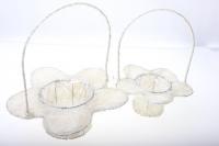 090512 Корзины плетеные Цветы сизаль набор (2шт) 20х15см - Белый