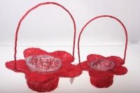 090512 Корзины плетеные Цветы сизаль набор (2шт) 20х15см - Красный