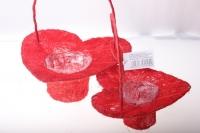 090513 Корзины плетеные Сердце сизаль набор (2шт) 20х20см - Красный