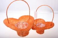 корзины из сизаля 090513 корзины плетеные сердце сизаль набор (2шт) 20х20см - оранжевый 2474