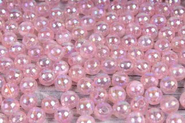 Бусины (А) перламутровые розовые  в пакете 100гр