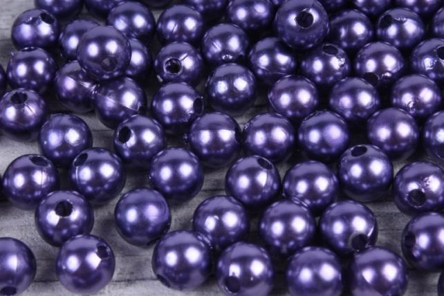 Бусины (А) перламутровые черничные   в пакете 100гр