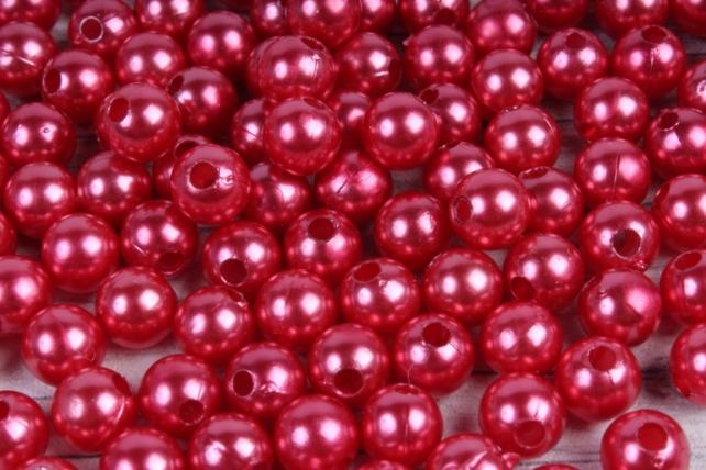 Бусины (А) перламутровые красный  в пакете 100гр