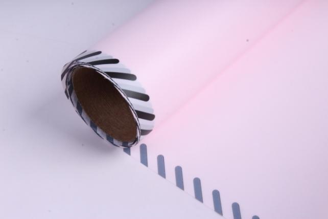 """Упаковочный материал """"Плёнка матовая с каймой"""", 60 см х 5 м Розовая"""