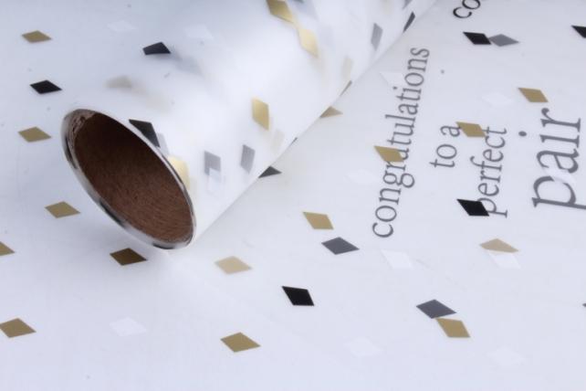 """Пленка матовая """"Разноцветный ромбики"""", 60 см х 5 м Черный с золотом"""