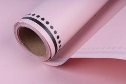 """Упаковочный материал """"Ламинированный фетр с каймой"""", 60 см х 5 м Чайная роза с черным"""