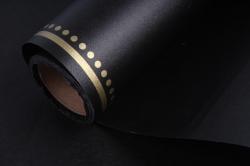"""Упаковочный материал """"Ламинированный фетр с каймой"""", 60 см х 5 м Черный с золотом"""