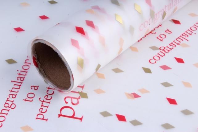"""Пленка матовая """"Разноцветный ромбики"""", 60 см х 5 м Белый с красным"""