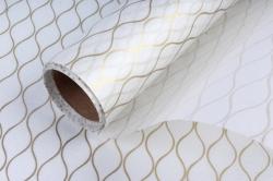 """Упаковочный материал Ламинированный фетр """"Геометрия"""", 60 см х 5 м Белый с золотом"""