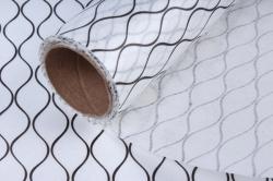 """Упаковочный материал Ламинированный фетр """"Геометрия"""", 60 см х 5 м Белый с черным"""