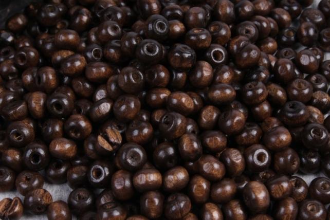 Бусины дерево  (С)  круглые  коричневые(6мм) в пакете 100гр