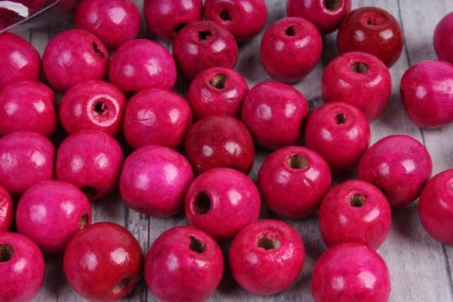 Бусины дерево  (С)  круглые  малиновые (15мм) в пакете 100гр