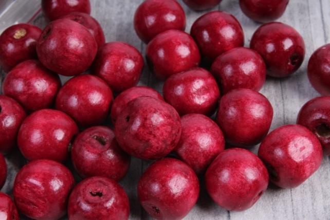 Бусины дерево  (С)  круглые  вишня (15мм) в пакете 100гр