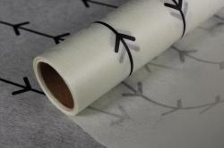 """Упаковочный материал Ламинированный фетр """"Кустик"""", 60 см х 5 м Белый с черным"""