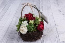 Цветочная композиция (И) - Цветы красно-белые кашпо  HK-33722  5016