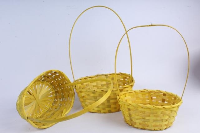 Набор корзин плетеных из 3шт (бамбук), Овал желтый  0800