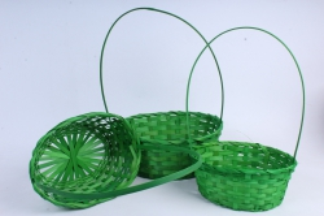 Набор корзин плетеных из 3шт (бамбук), Овал  зеленый  0817