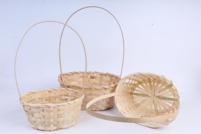 Набор корзин плетеных из 3шт (бамбук), Овал натуральный  0824