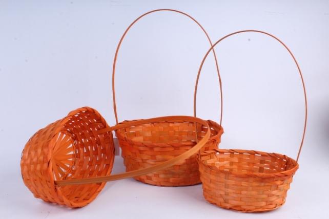 Набор корзин плетеных из 3шт (бамбук), Овал оранжевый0787