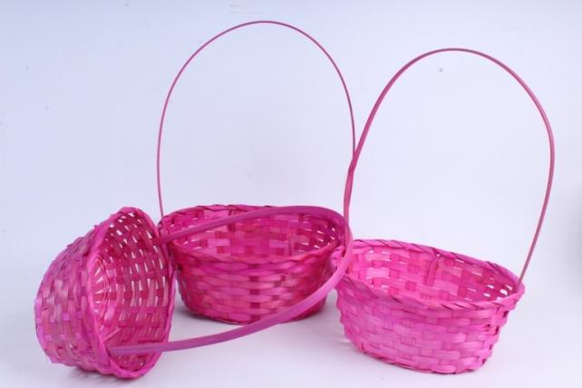 Набор корзин плетеных из 3шт (бамбук), Овал  розовый  0794