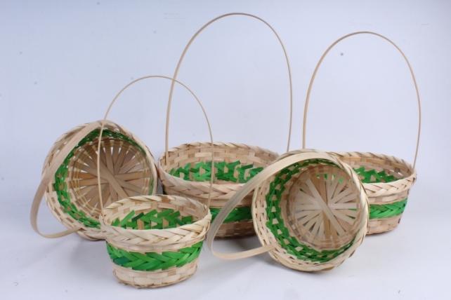 Набор корзин плетеных из 5шт  (бамбук), Круг зеленый 1036