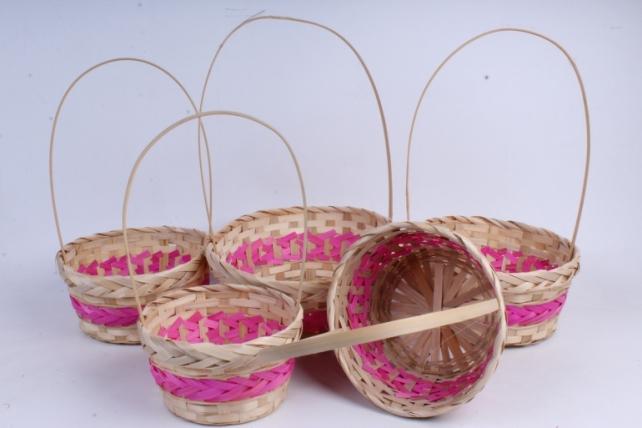 Набор корзин плетеных из 5шт  (бамбук), Круг  розовый 1043