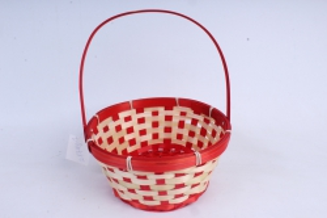 Корзина плетеная (бамбук) Круг красный  1210