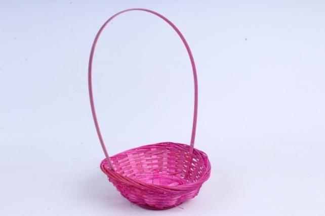 Корзина плетеная (бамбук), Круглая розовая0589