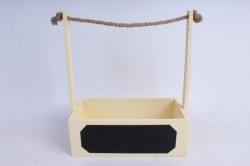 Кашпо деревянное Шампань с джутовой ручкой и грифельной(меловой) табличкой