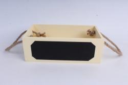 Кашпо деревянное Шампань с джутовыми ручками по краям и грифельной(меловой) табличкой