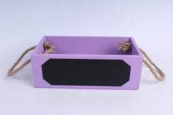 Кашпо деревянное Сиреневое с джутовыми ручками по краям и грифельной(меловой) табличкой