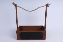 Кашпо деревянное Орех с джутовой ручкой и грифельной(меловой) табличкой