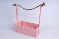 Кашпо деревянное Розовое с джутовой ручкой