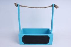Кашпо деревянное Голубое с джутовой ручкой и грифельной(меловой) табличкой
