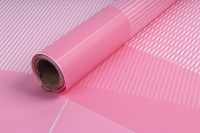 Пленка матовая 60см*10м Полоска с кантом розовый