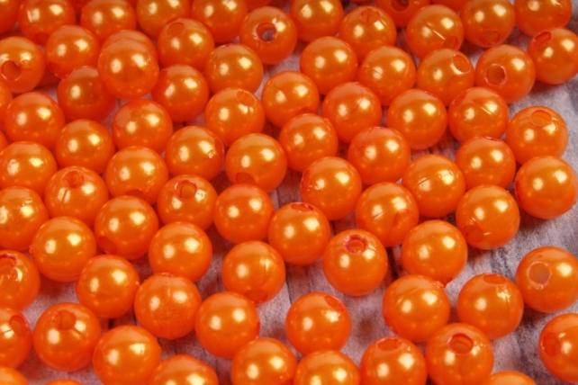 Бусины (С) перламутровые оранжевые (8мм) в пакете 100гр