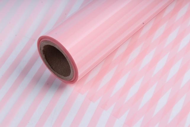 Пленка матовая 60см*10м полоска вертикальная нежно-розовый
