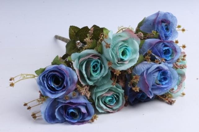 Искусственное растение - Розы ретро Акварель синий/тиффани