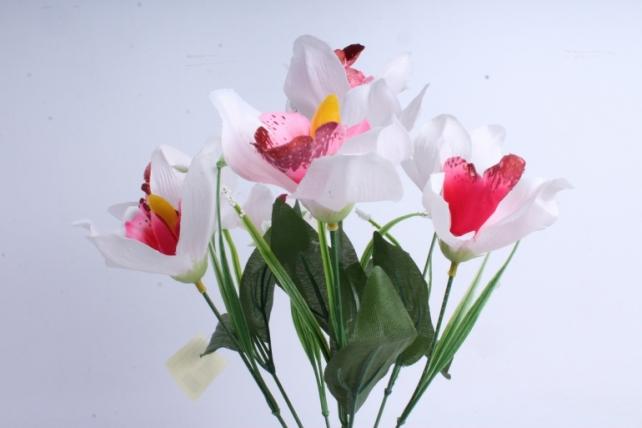 Искусственное растение - Орхидея букет бело-малиновая