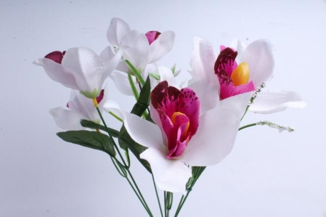 Искусственное растение - Орхидея букет бело/бордовая
