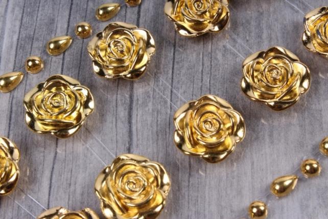 Стразы Розы золото 18мм 12шт  DZ685