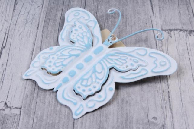 Подвеска из металла Бабочка голубая 11*10см    LHNH32  8707