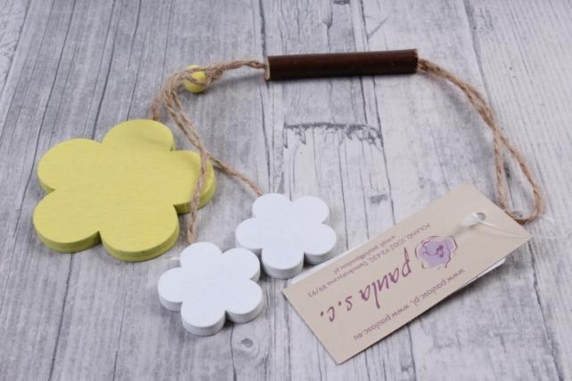 Подвеска из дерева Цветок Ромашка желтая с белым  6*18см ZL16017