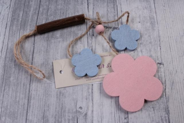 Подвеска из дерева Цветок Ромашка розовая с голубым  6*18см ZL16017