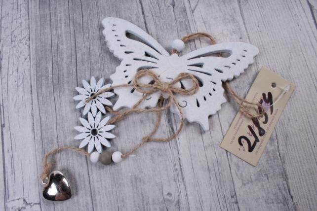 Подвеска из дерева Бабочка белая  12*21см   ZL16029    3883